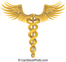 Caduceus Gold - Metallic gold medical caduceus icon with...