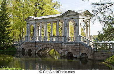 Palladian Bridge - Palladian bridge in the town of Pushkin....