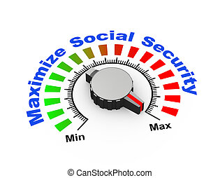 3d knob - maximize social security - 3d illustration of knob...