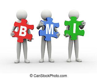 3d man puzzle piece - bmi