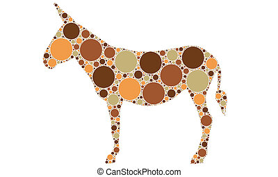 donkey - dotted color silhouette of a donkey