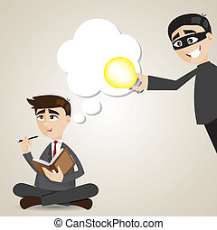 cartoon businessman with stolen idea - illustration of...