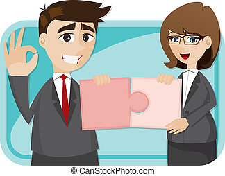 cartoon businesspeople finished puzzle - illustration of...