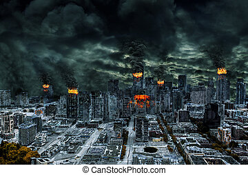 Cinematic Portrayal of Destroyed City With Copy Space -...