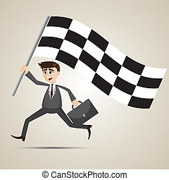 caricatura, homem negócios, correndo, bandeira