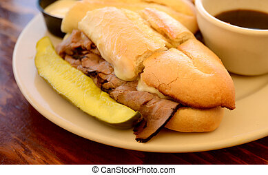 Hot French Dip Sandwich - French Dip with side of Au jus