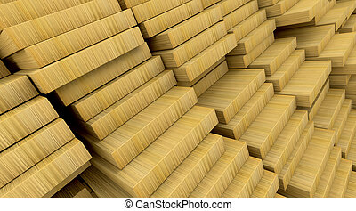 construction materials wood - 3d render of wooden planks