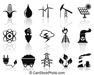 Alternative Energy icons set - isolated black Alternative...