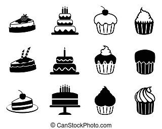 cake icons set - isolated black cake icons set from white...