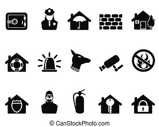 home security icons set - isolated black home security icons...