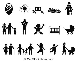 family life icons set