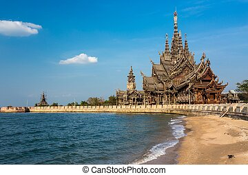 The wooden sanctuary of truth, buddhist, chinese, and...