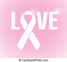 love sign ribbon illustration design over a pink background