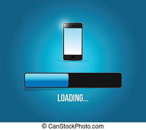 loading phone updates illustration design over a blue...