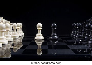 Chess Pawn Stalemate - Two pawns in stalemate on a chess...