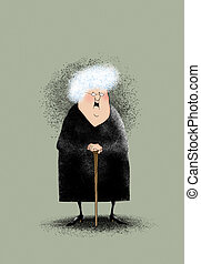 Smiling LIttle Old Lady - Funny cartoon of a smiling old...