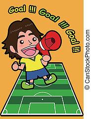 Vector cartoon soccer Sport Fan wit