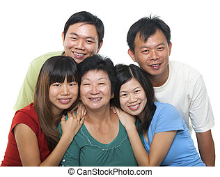 Asian family portrait Happy senior mother and her adult...