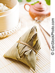Zongzi or rice dumpling. Traditional steamed sticky...