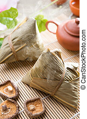 Chinese festive food rice dumpling - Traditional steamed...
