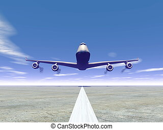 Plane landing - 3D render - Frontview of a airplane landing...
