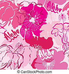 Seamless pattern with hand drawn outlines frangipani,...