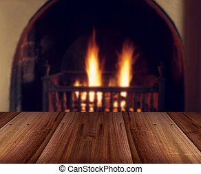 wooden table background with fireplace