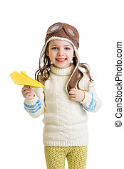 kid girl pilot playing with paper airplane