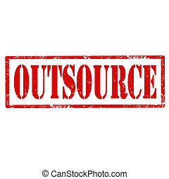 Outsource-stamp - Grunge rubber stamp with text...