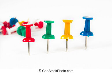 push pins - colorful push pins over white