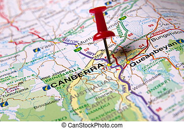 Canberra city - Canberra in Australia in the map