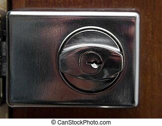 door lock - closeup of the old door lock