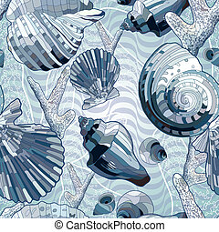 Seamless with sea shell - Seamless with abstract sea shell...