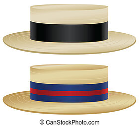 Boater hat - Traditional boater hats with variations in...