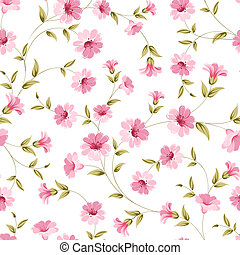Pink flowers fabric - Pink flowers fabric, seampless pattern...