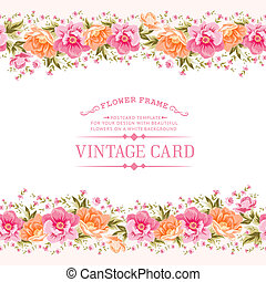 Border of flowers in vintage style.