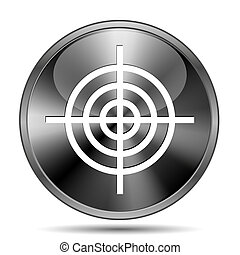 Target icon - Glossy shiny glass icon on white background
