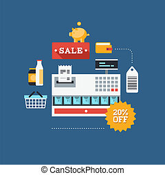 Commerce and retail flat illustration - Concept of retail...