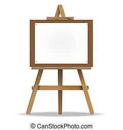 white canvas on an easel - A white canvas on an easel high...