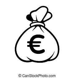 Euro Money Icon with Bag. Vector. - Euro Money Icon with Bag...