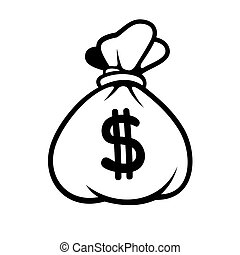 Dollar Money Icon with Bag Vector - Dollar Money Icon with...