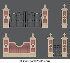 garden gateway, stone pillars with forged gate and brick...
