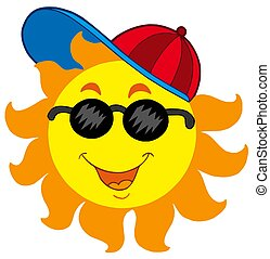 Cartoon Sun in baseball cap - isolated illustration