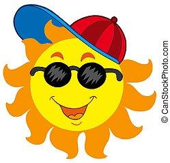 Cartoon Sun in baseball cap - isolated illustration.