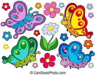Cute butterflies collection 2 - isolated illustration.