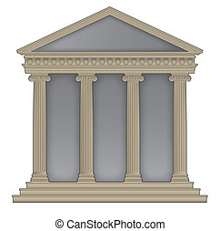 Roman/Greek Temple with ionic columns, high detailed with...