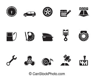 car parts and services icons - Silhouette car parts,...