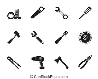 different kind of tools icons - Silhouette different kind of...