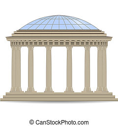 stone rotunde with glass dome vector eps10