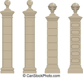 set of column 3 - set of pillar column eps10 vector